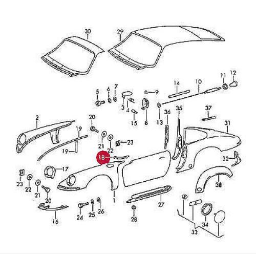 Porsche 911 930 Fender Seals 90150339422