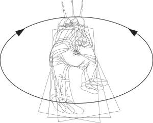 Line drawing of body position when shooting prone