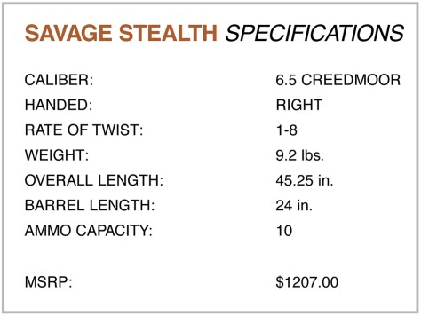 Savage Stealth Specifications