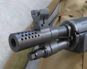 The perforated muzzlebrake helps reduce muzzle rise and keep you focused on the target when shooting fast.