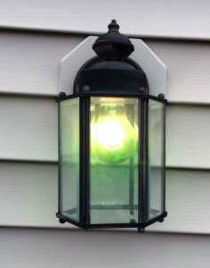 Porch light with green bulb