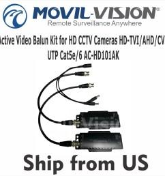 details about active video balun kit for hd cameras hd tvi ahd cvi utp cat5e cat 6 [ 1415 x 1414 Pixel ]