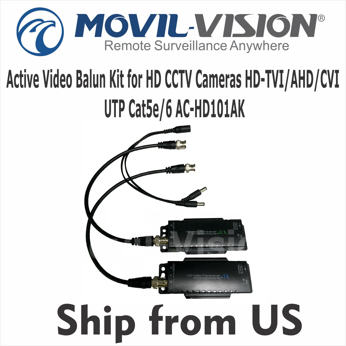 hight resolution of details about active video balun kit for hd cameras hd tvi ahd cvi utp cat5e cat 6