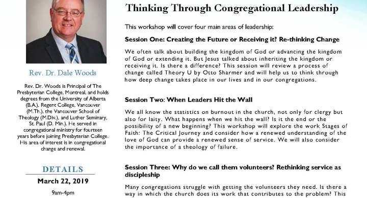 Spring 2019 Workshop: Thinking Through Congregational Leadership