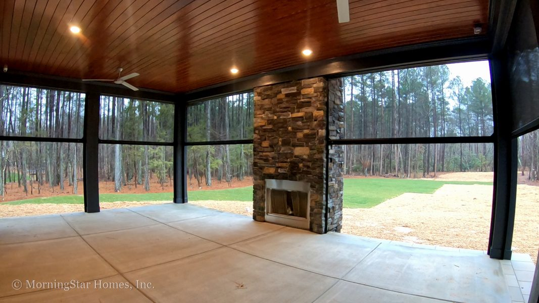 Windfall Creek Estate: Motorized, retractable screens on the back porch