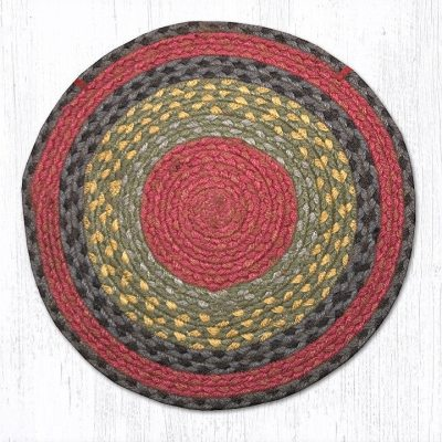 Burgundy Olive Charcoal 20-CH238 Round Chair Pad 15.5x15.5