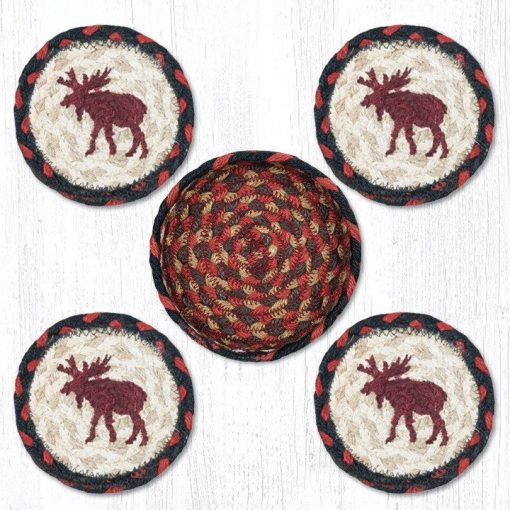 Moose 29-CB019M Coasters In A Basket 5x5 Set of 4