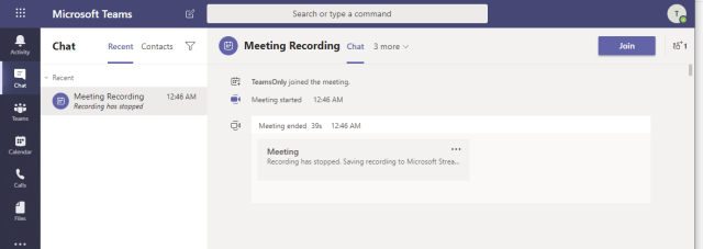 MSTeams Informational | Meeting recording policy