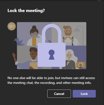 How to lock a Microsoft Teams meeting