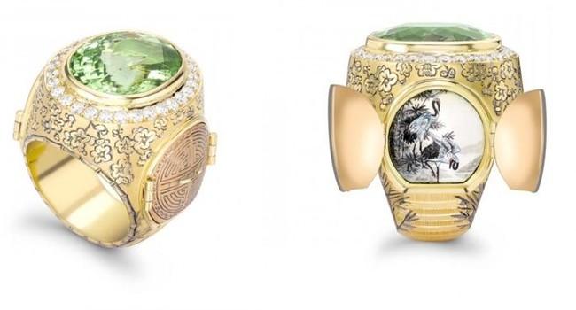 會令你眼前一亮的隐藏設計戒指,豪華寶石小場景。