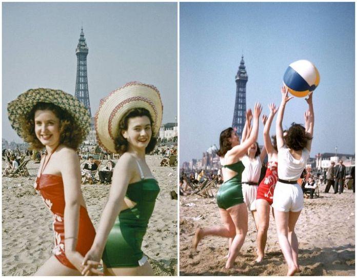 60年前的老照片:歐洲人這樣在海濱度假