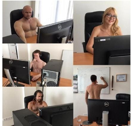 ,男同事只能硬著工作!