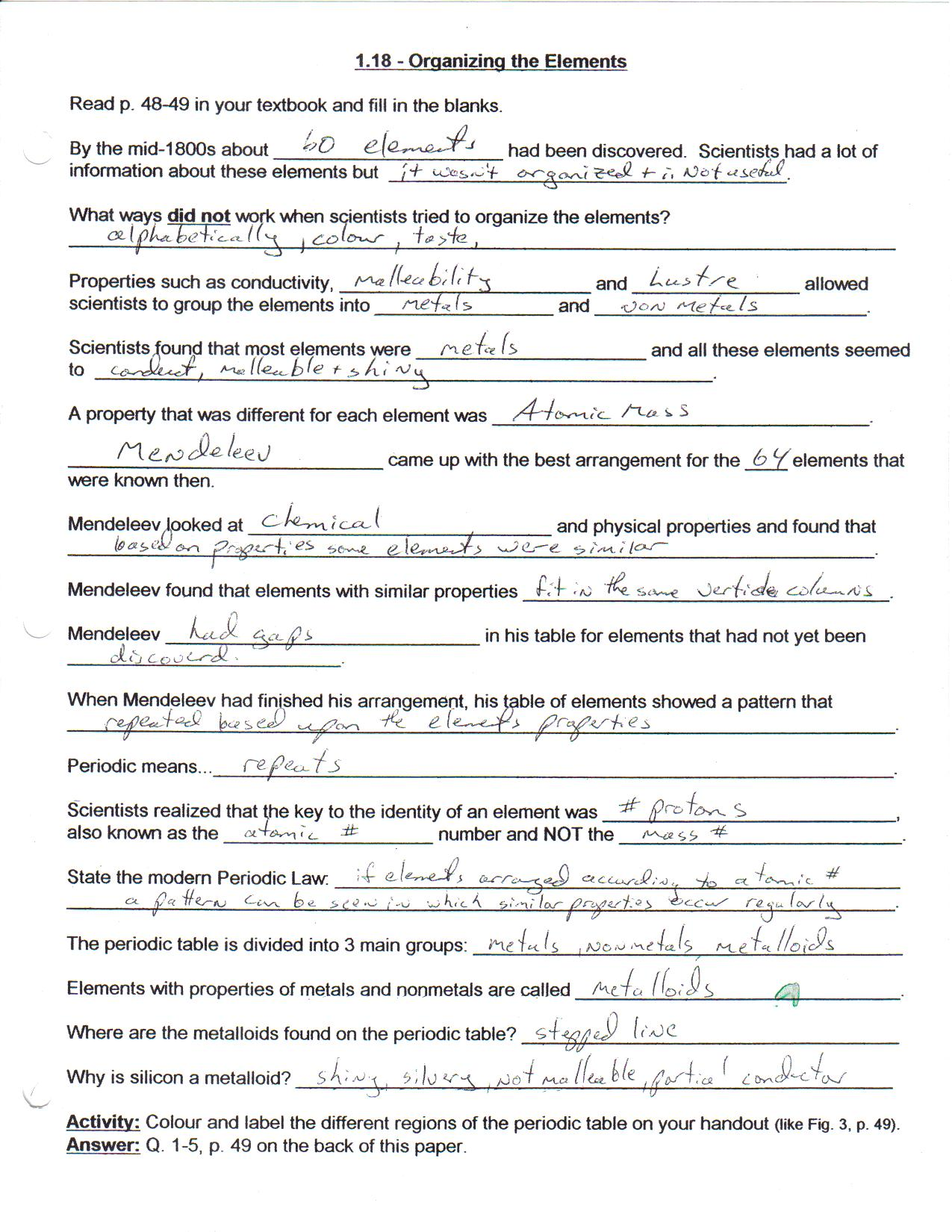 Physical Science Element Worksheet Answers