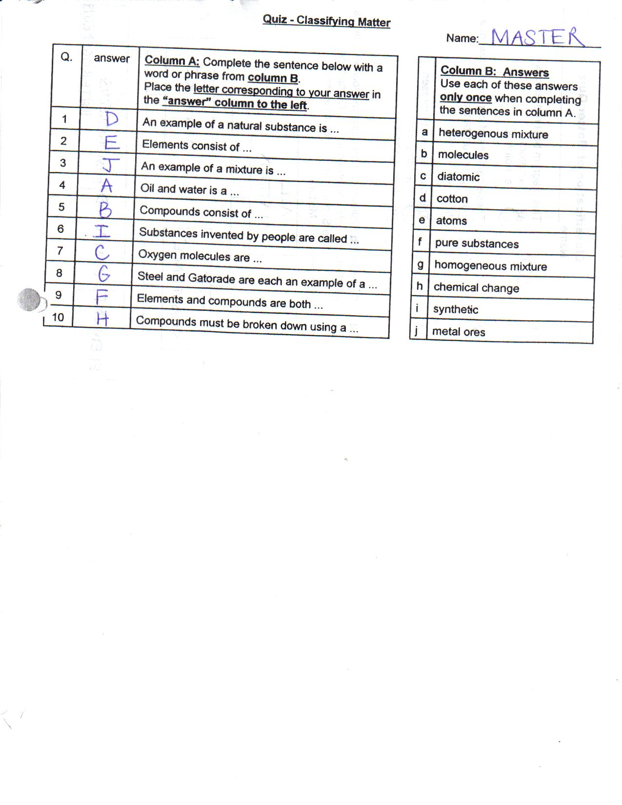 Properties Of Matter Worksheet Answers