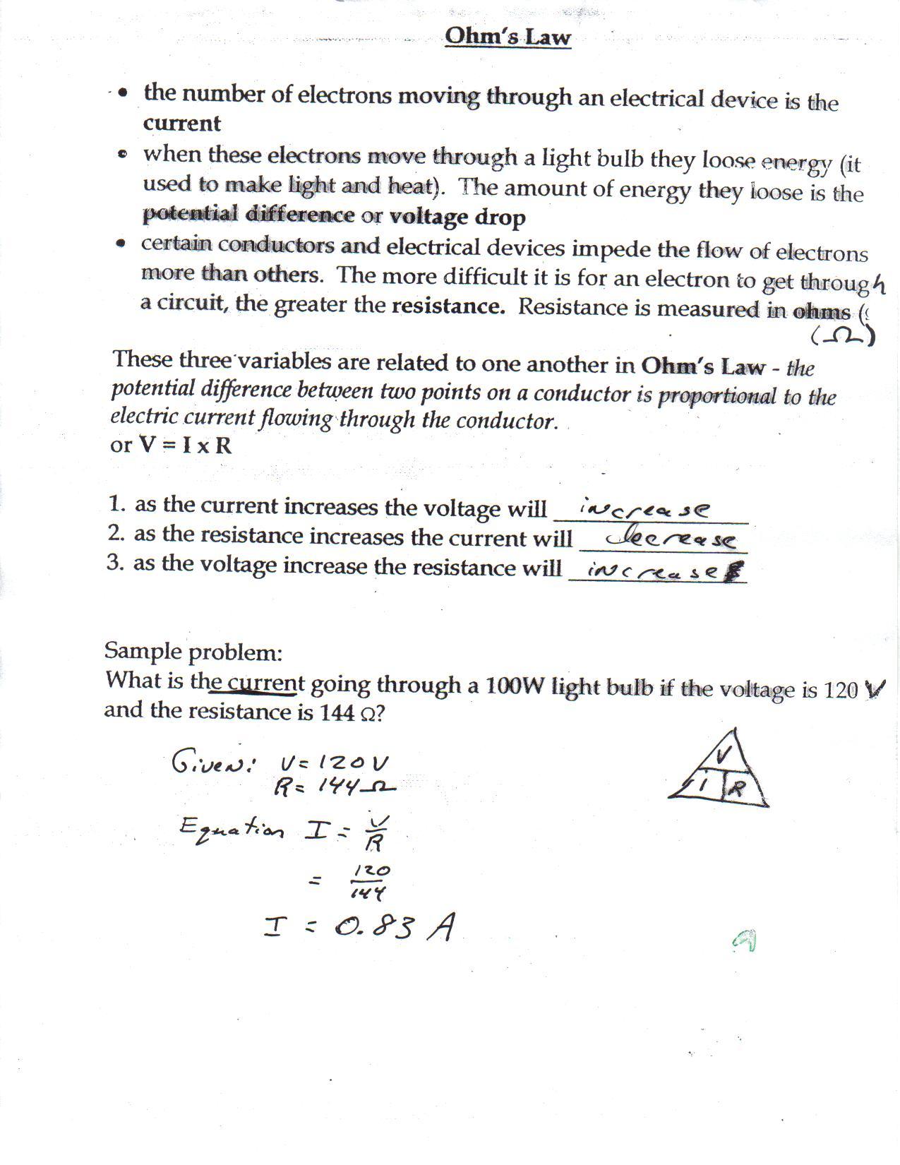 Velocity Worksheet Key