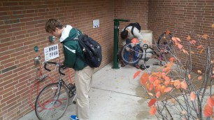 Our public air station and DIY Dero Fixit Station outside the MSU Bikes Svc Ctr. are used a LOT.