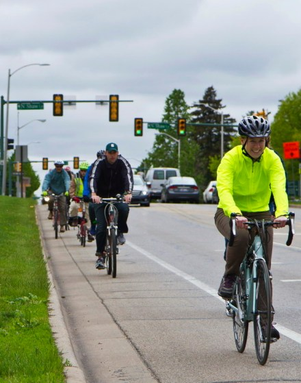 Riding along Farm Ln., spring 2015 during Tour de MSU