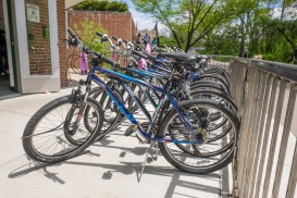 Bikes can now be displayed more easily and safely on the new expanded patio area of the MSU Bikes Service Center.