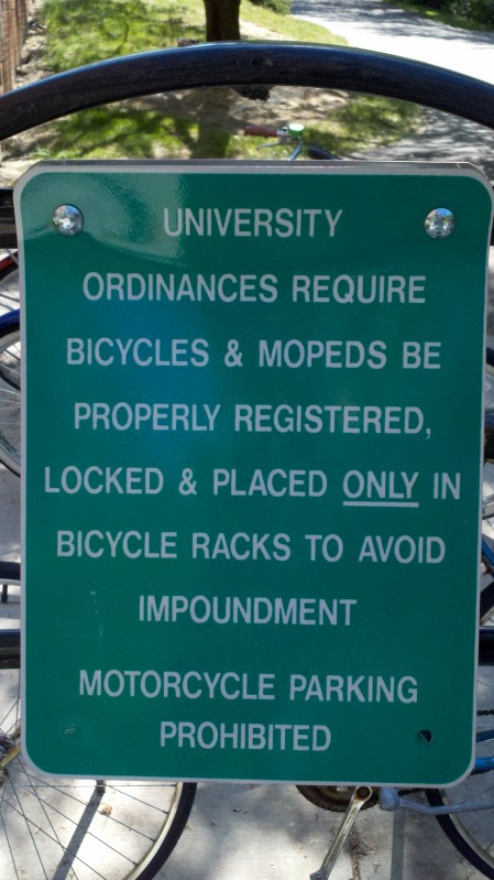 Example sign which are posted at most of the bike parking areas on campus.