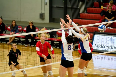 Dragon Abby Wolpern goes for the kill in the volleyball team's home opener in Northern Sun Intercollegiate Conference action Saturday against the Univeristy of Mary. MSUM jumped out to a 2-0 set lead before Mary grabbed the third and MSUM finished the match decisively taking the fourth set 25-10. Wolpern and Katie Meyers, also pictured, were two of the leaders in the match for the Dragons. The Dragons bring an 8-2 record into tonight's matchup against Northern State University in NSIC action. The match starts at 7 p.m.