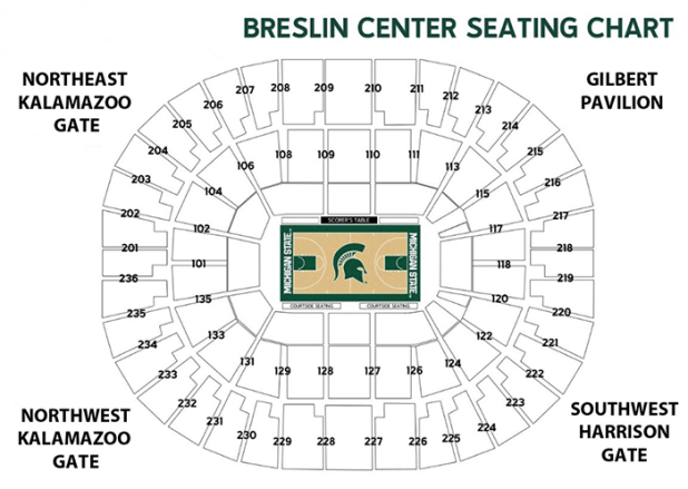 Select A Section From The Chart For Row And Seat Number Information View Of Arena Gate Letters Are Listed On Outside