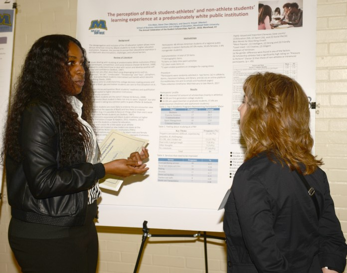 A student presents her research at the 2018 Celebration of Student Scholarship.