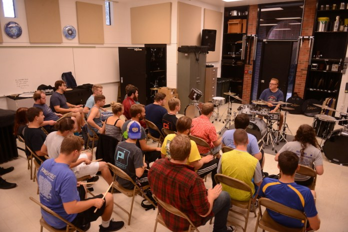 Pat Petrillo (83) came back to Morehead State to share his experience and skills with MSU percussion students last fall.