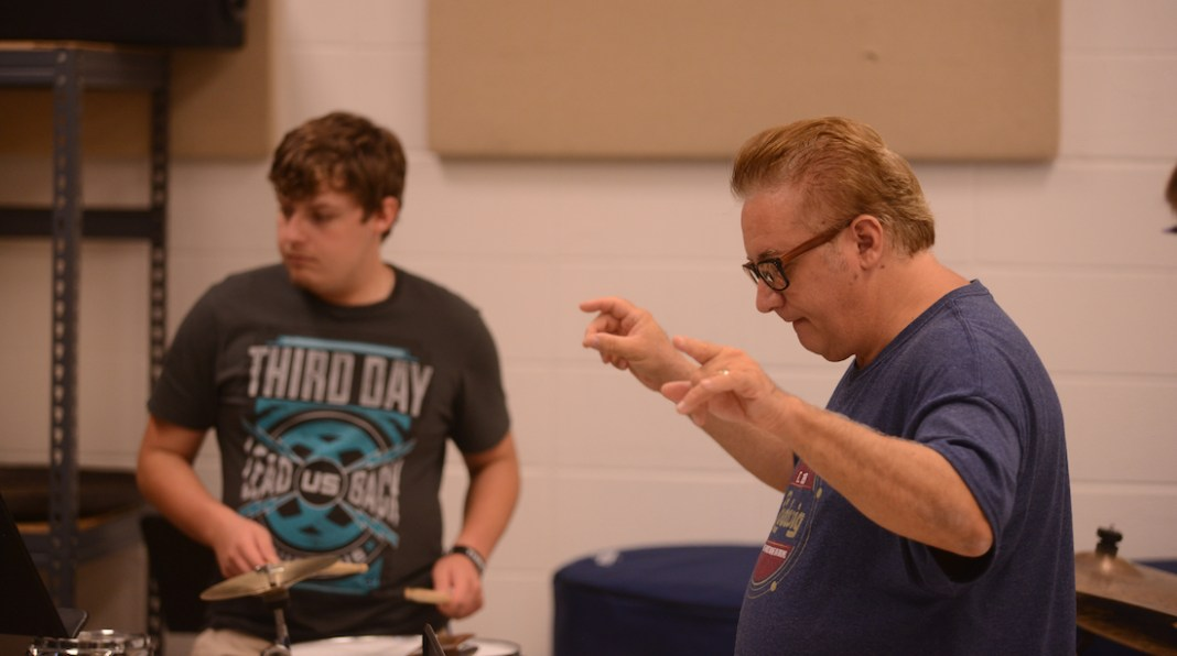 Pat Petrillo (83) stepped back from behind the drums to conduct MSU percussion students in a special master class.