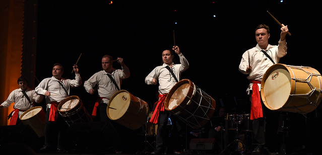 """image: Students from MSU's Percussion Ensemble performed at the 2019 Spring Gala """"An Evening in Madrid."""""""
