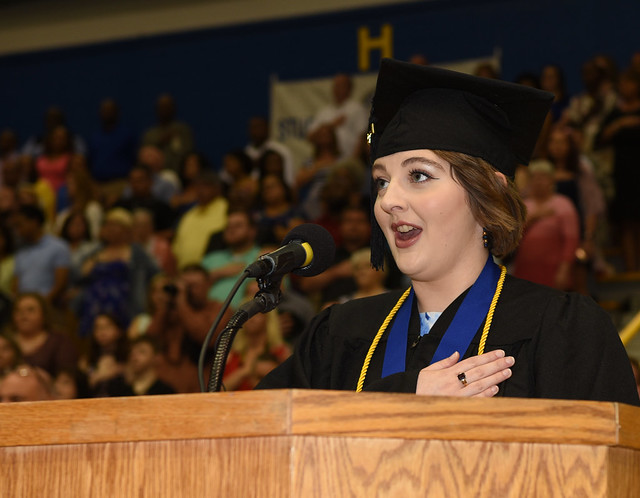 Eliza Eaches (19) sang the national anthem at Morehead State's spring commencement ceremonies on Saturday, May 11.