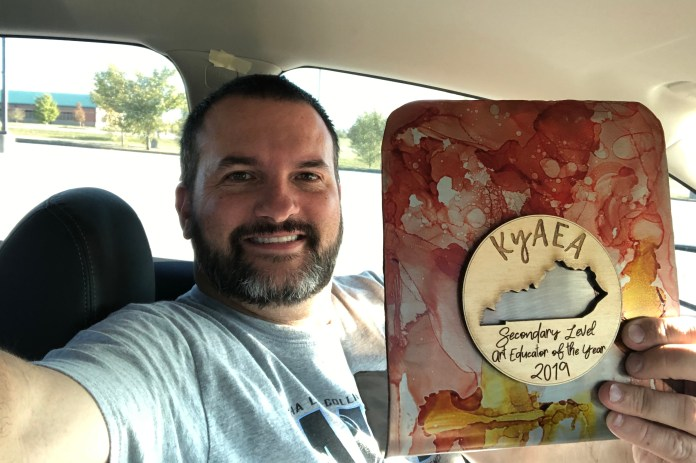 Matt Cockrell was named the 2019 Secondary Level Art Educator of The Year Award by the Kentucky Art Education Association.