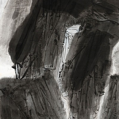 2011, ink on paper mounted as hanging scroll, 73.25 x 19 in