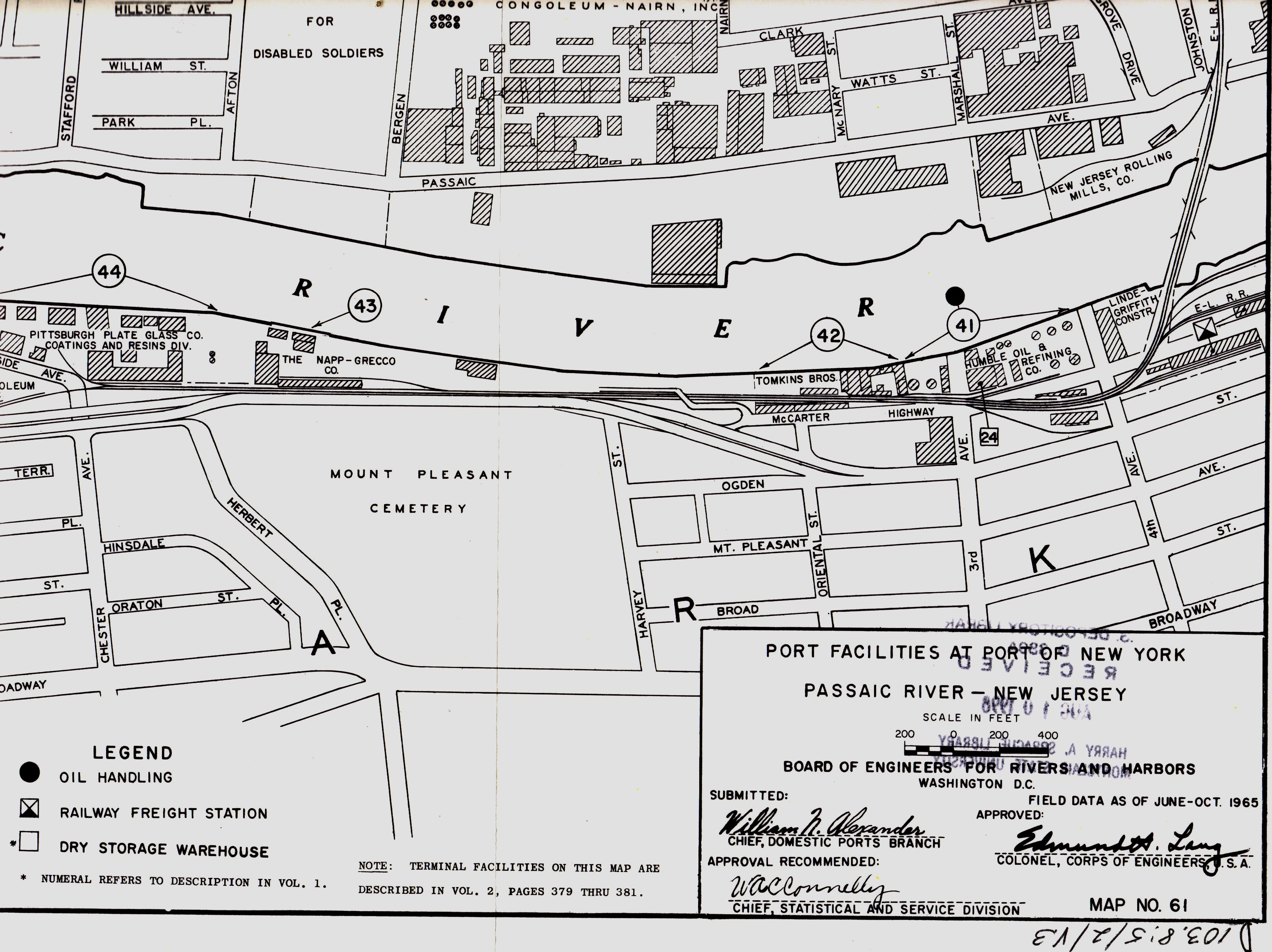 1965 Map of the Passaic River at Kearny