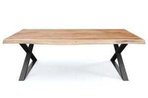 Eiche Rustikal Esstisch 4cm nach Maß Baumkante mit X ...