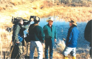 Bob Lee speaking with media at his ranch after receiving the 1996 Environmental Stewardship Award.