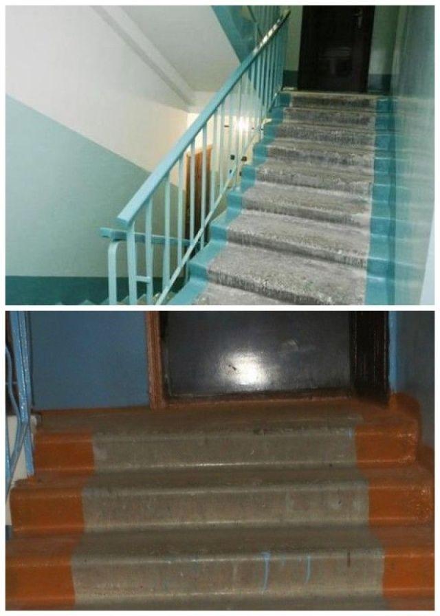 В советское время края ступеней на лестнице в подъезде всегда красили