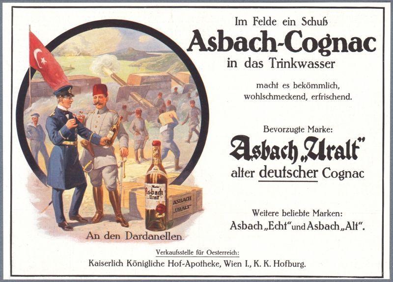 Германский рекламный плакат, на котором кайзеровский и османский военные угощаются коньяком. worldwar1.com - «У нас здесь много вина, мы пьём его как воду…» | Военно-исторический портал Warspot.ru