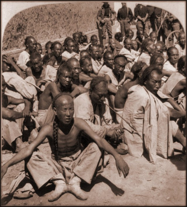 Пленные ихэтуани - участники знаменитого боксерского восстатия (1901 год) исторические фото, история, китай