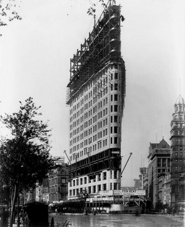 6. Флэтайрон-билдинг, Нью-Йорк, США, 1902 год достопримечательности, здания, старые фото, строительство