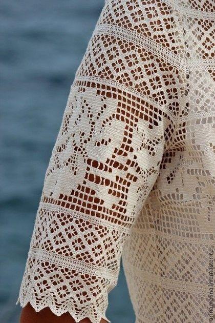 Невероятной красоты филейное платье с розами 3