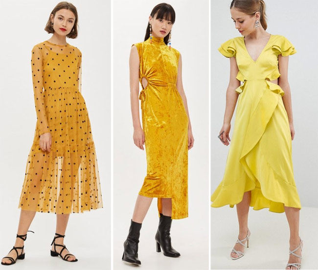 450d1a4c2bee7e9 Платья желтого цвета и его оттенков на Новый год 2019: в горох,  асимметричное из