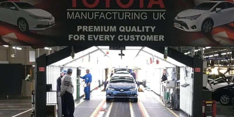 Toyota corolla rolling off of manufacturing line
