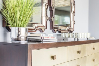 bedroom dresser with double mirrors