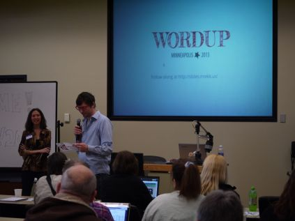 Toby and Barbara kicking off WordUp 2013