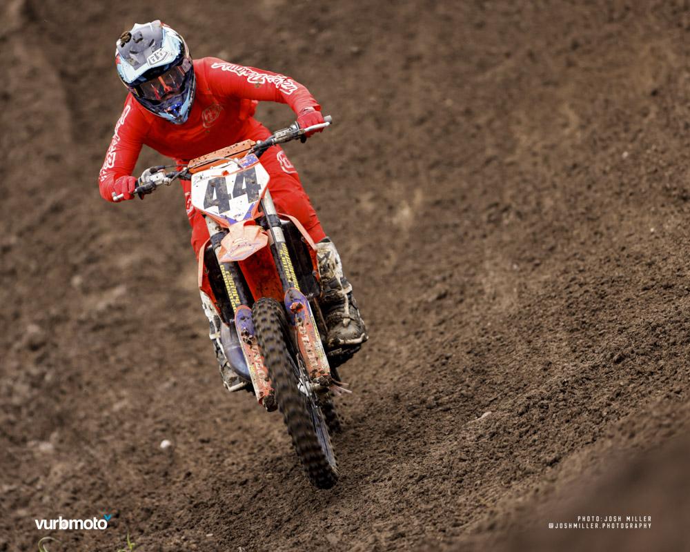 Noah Smerdon races uphill at the Muddy Creek motocross track.
