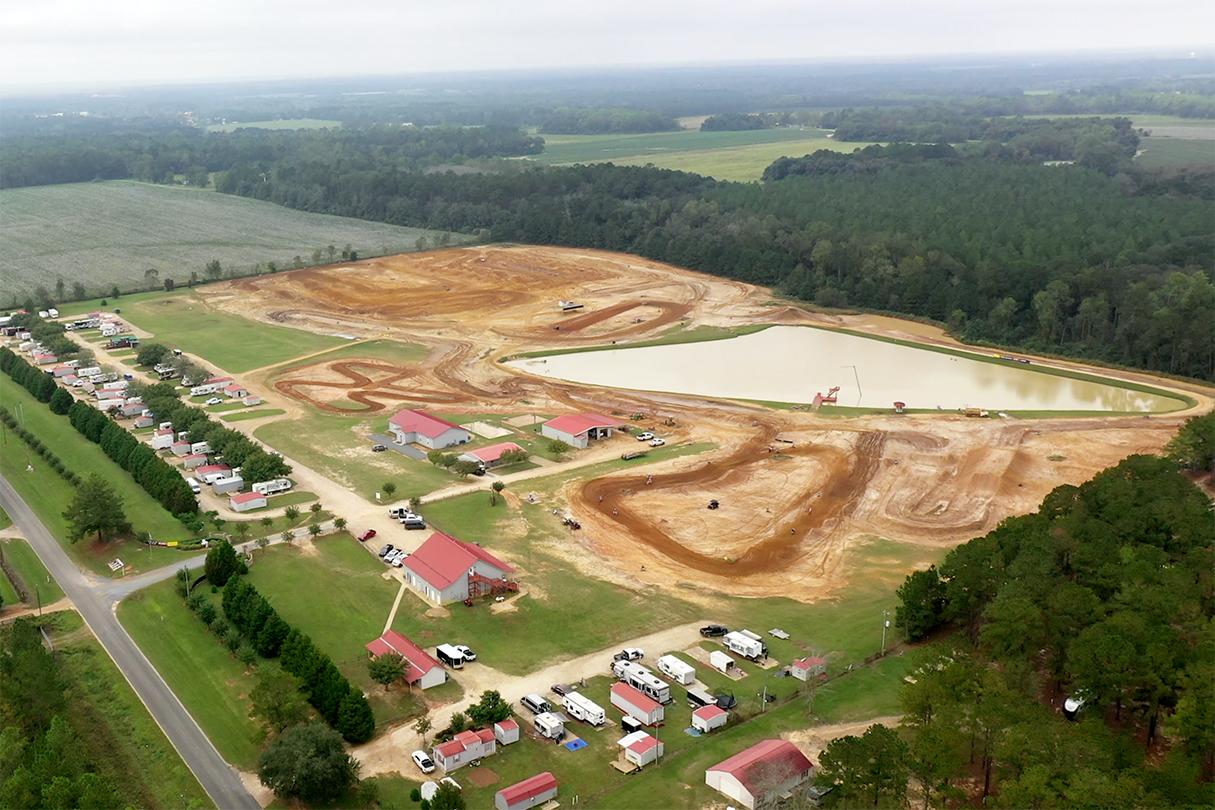 Birds eye view of Millsap Training Facility motocross and supercross tracks, gym, mechanics, and RV hookups