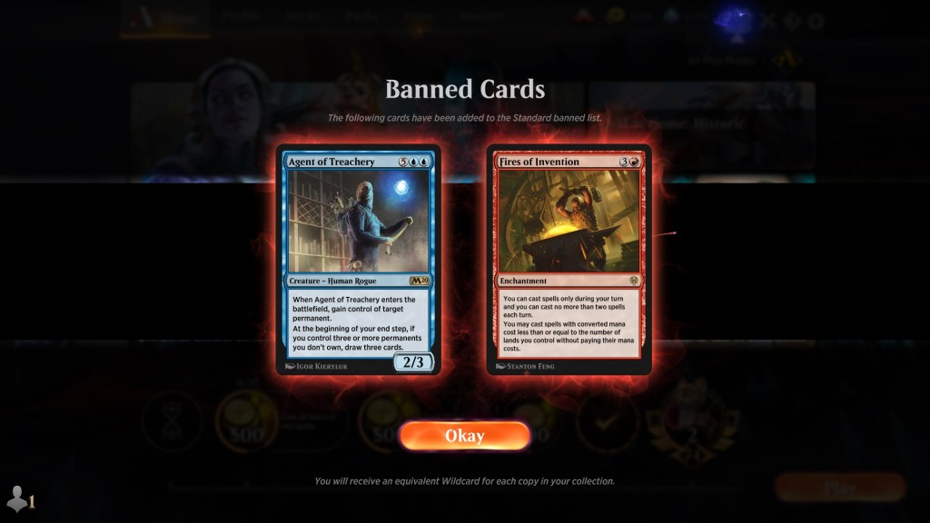 Fires of Invention and Agent of Treachery Banned Standard
