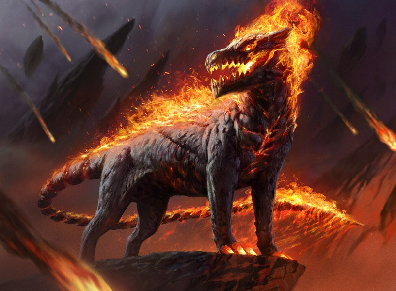 Akoum Hellhound Art by Jason Kang