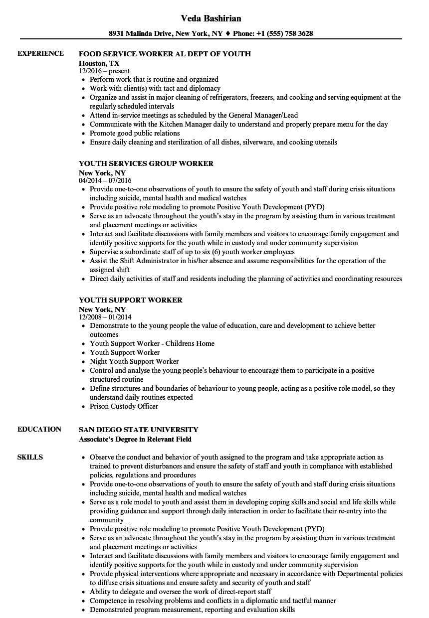 community youth worker resume examples