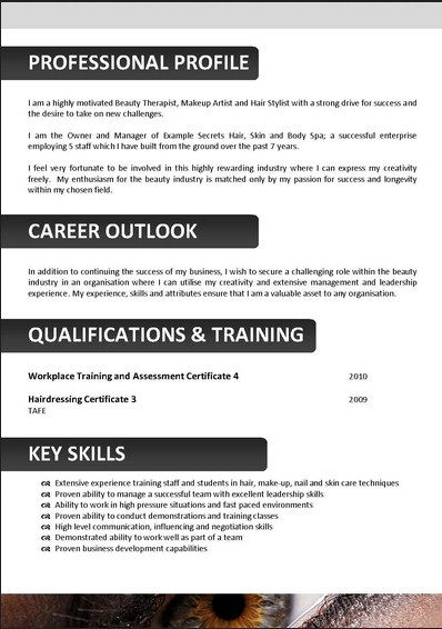 resume template for beautician